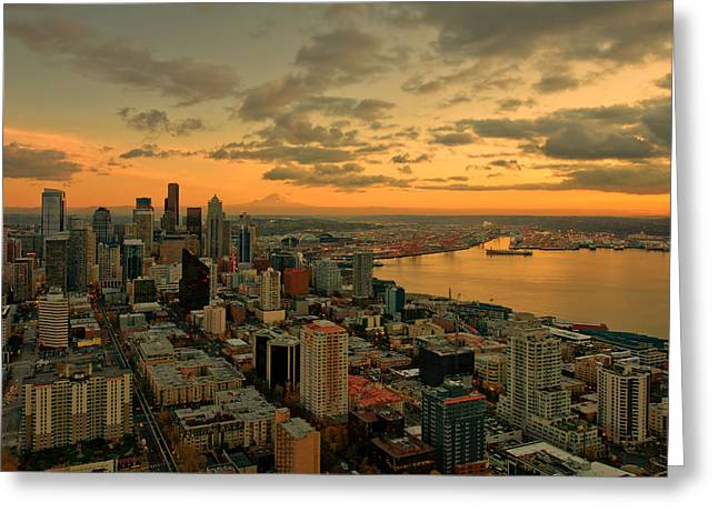 Seattle Sunset Greeting Card by Dan Mihai