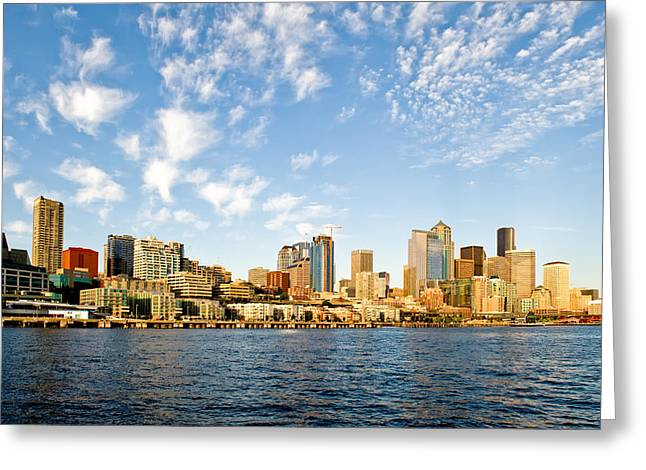 Seattle The Emerald City Greeting Card by Tom Dowd