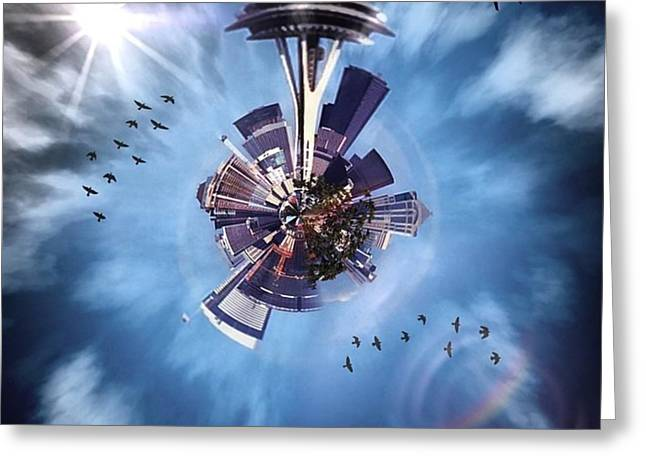 Seattle #tinyworld #spaceneedle Greeting Card