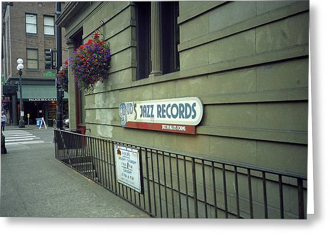 Seattle - Underground Record Store, 2007 Greeting Card by Frank Romeo