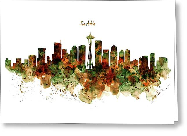 Greeting Card featuring the mixed media Seattle Watercolor Skyline Poster by Marian Voicu