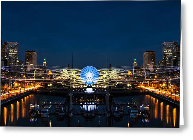 Seattle Waterfront Cosmic Rays Reflection Greeting Card