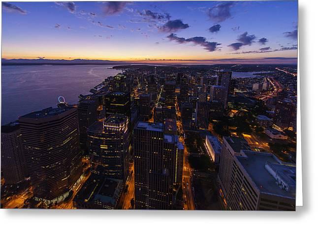 Seattles Dusk City Landscape Greeting Card