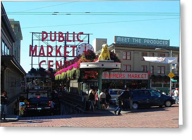 Seattle's Pike Place Market Center  Greeting Card by Candace Garcia