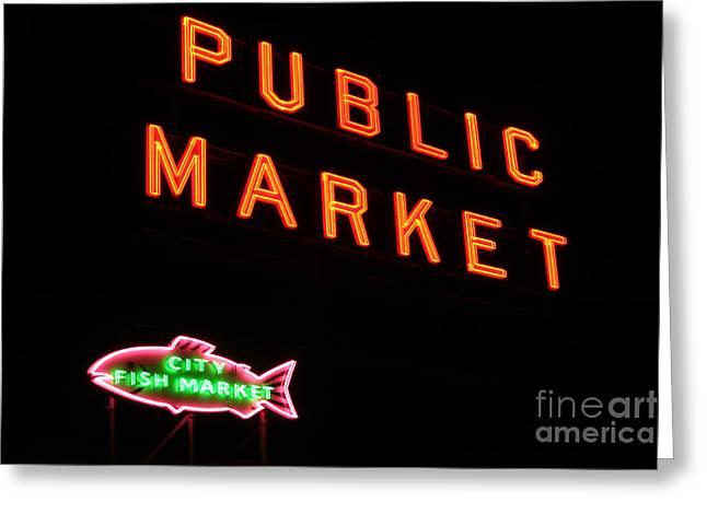 Seattles Public Market Greeting Card by Robert Torkomian