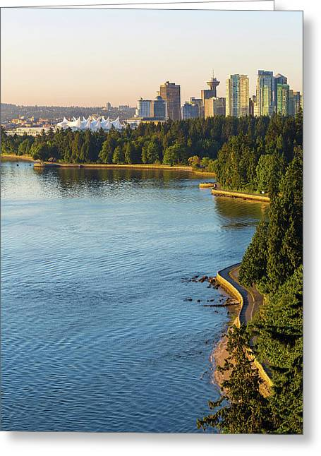 Seawall Along Stanley Park In Vancouver Bc Greeting Card by David Gn