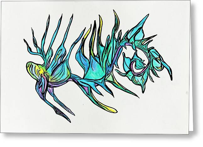 Scuttle Greeting Cards - Seaweed Fish Greeting Card by Tory  Tunes