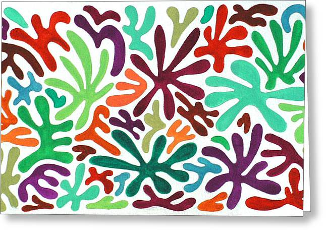 Seaweed Splash Colorful Abstract Gouache Painting Green Red Orange Brown Blue Greeting Card by Wendy Middlemass