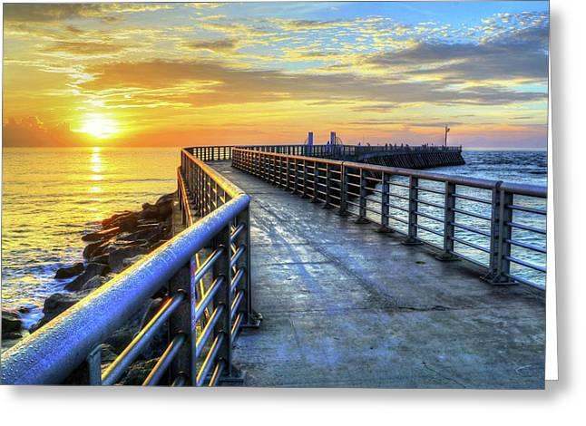 Sebastian Inlet Pier Along Melbourne Beach Greeting Card