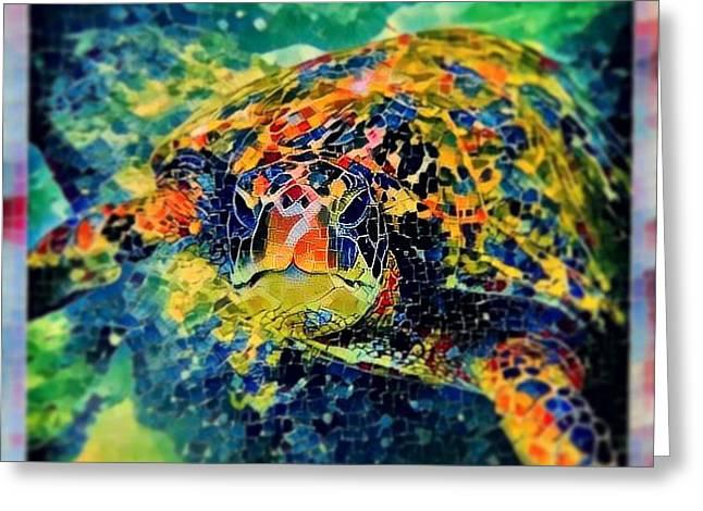Sebastian The Turtle Greeting Card by Erika Swartzkopf
