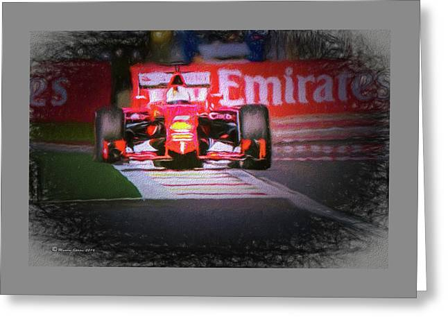 Sebastian Vettel's Ferrari Greeting Card by Marvin Spates