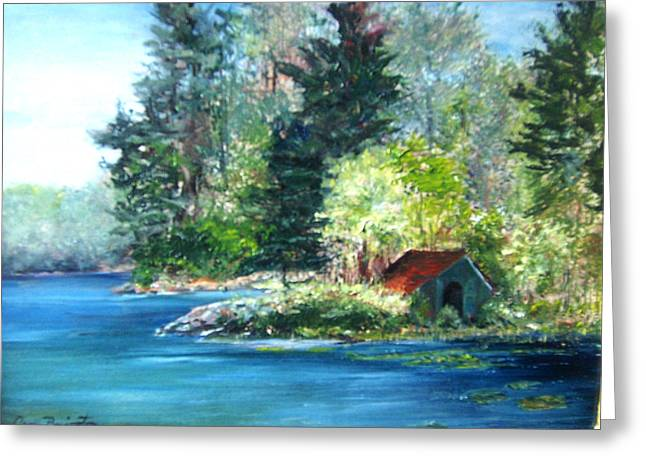 Secluded Boathouse-millsite Lake  Greeting Card