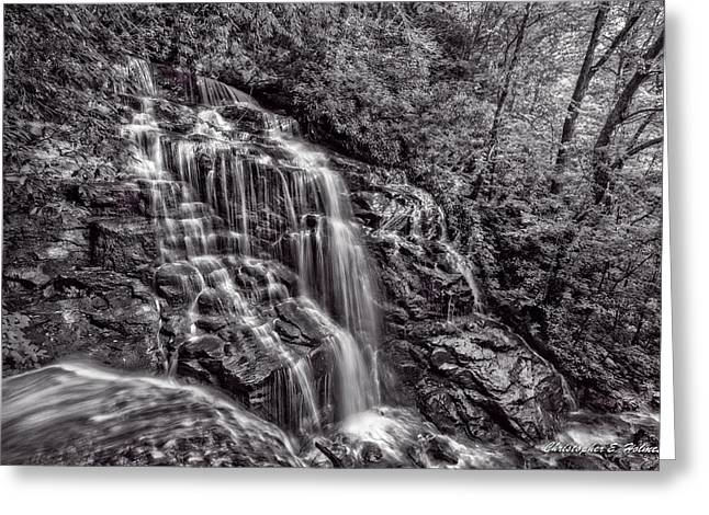 Secluded Falls - Bw Greeting Card by Christopher Holmes