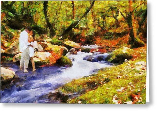 Secluded Stream Greeting Card by Jai Johnson