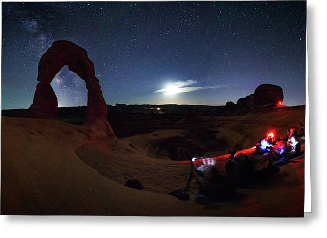Seclusion At Delicate Arch Greeting Card by Mike Berenson