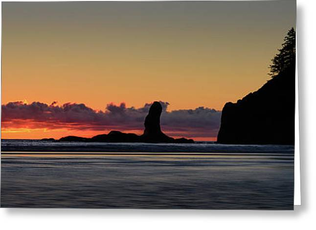 Greeting Card featuring the photograph Second Beach Silhouettes by Dan Mihai