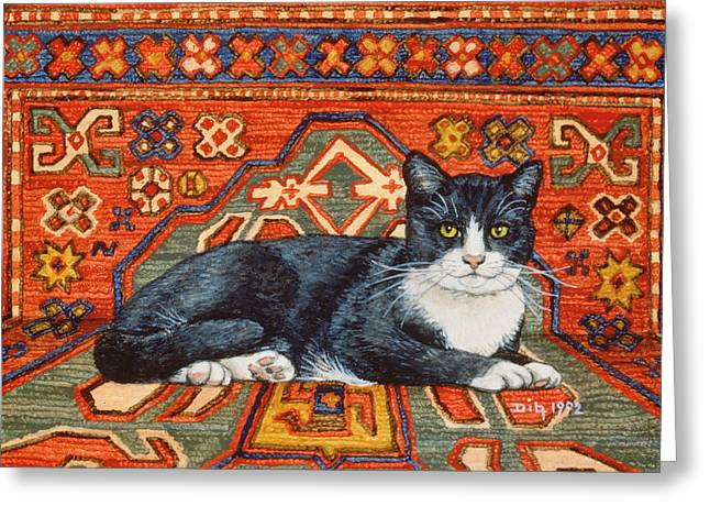 Second Carpet Cat Patch Greeting Card by Ditz