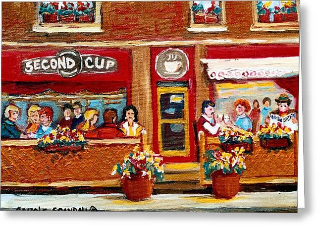 Second Cup Coffee Shop Greeting Card by Carole Spandau