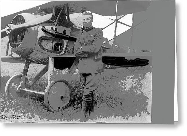 Second Lieutenant Frank Luke With His  Spad S.xiii On September 19, 1918 Somewhere In France-2016  Greeting Card by David Lee Guss