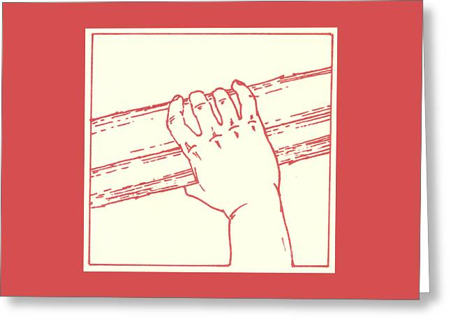 Greeting Card featuring the drawing Second Station- Jesus Is Made To Carry His Cross by William Hart McNichols