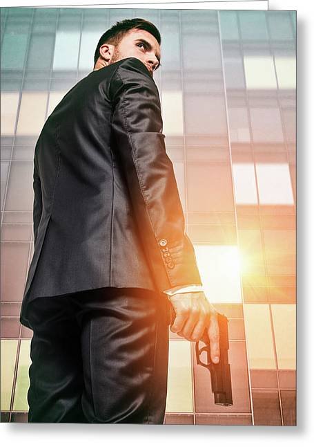 Secret Agent 5 Greeting Card by Carlos Caetano