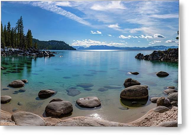 Secret Cove Aquas By Brad Scott Greeting Card