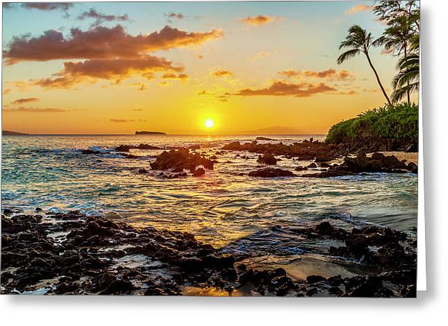 Secret Cove Sunset Greeting Card by Kelley King