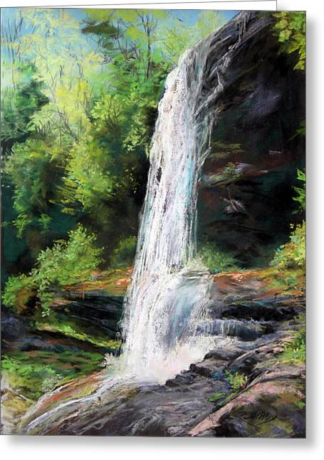 Waterfall Pastels Greeting Cards - Secret Falls Greeting Card by Robin  Swaby