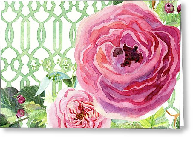 Greeting Card featuring the painting Secret Garden 3 - Pink English Roses With Woodsy Fern, Wild Berries, Hops And Trellis by Audrey Jeanne Roberts