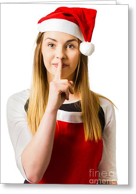 Secret Santa Surprise On White Background Greeting Card by Jorgo Photography - Wall Art Gallery