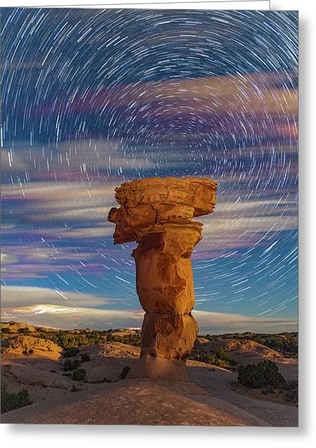 Secret Spire And Star Trails Greeting Card