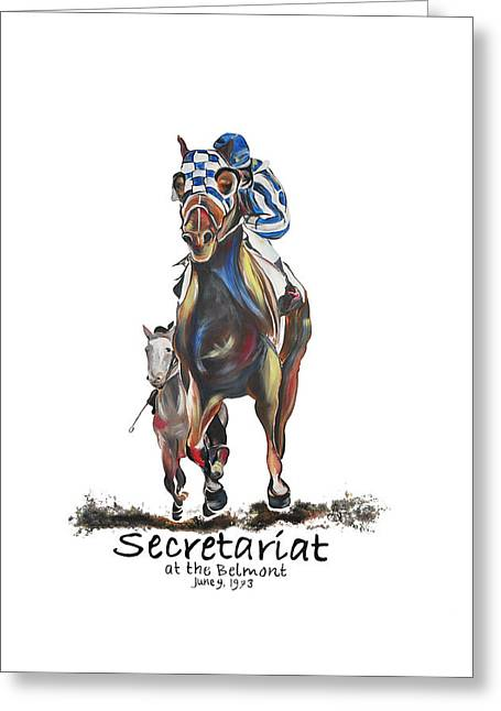Secretariat At The Belmont Mural Greeting Card by Amanda  Sanford