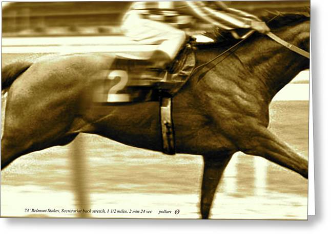 Secretariat Is Widening Now He Is Moving Like A Tremendous Machine Greeting Card by Thomas Pollart