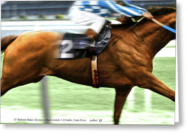 Secretariat Is Widening The Lead Now,  Painting Belmont Stakes  Greeting Card by Thomas Pollart