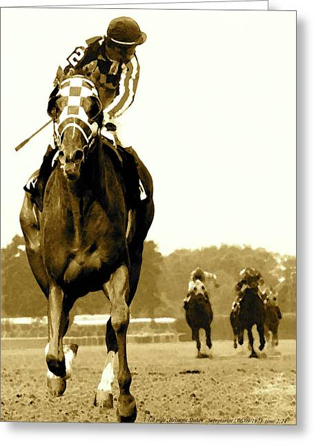 Secretariat Looking Back Belmont Stakes 1973 Greeting Card