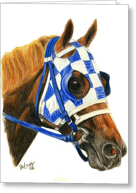 Secretariat With Blinkers Greeting Card by Pat DeLong