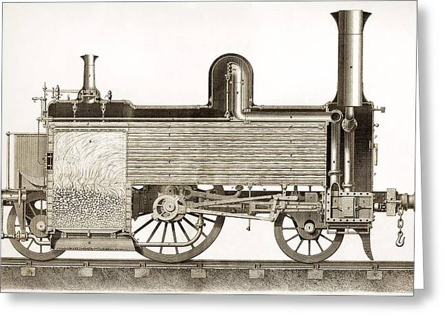 Sectional View Of 19thc Locomotive Greeting Card
