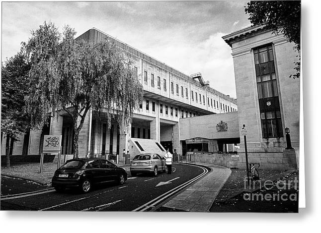 security outside Cathays park 2 cp2 crown buildings welsh goverment office Cardiff Wales United King Greeting Card