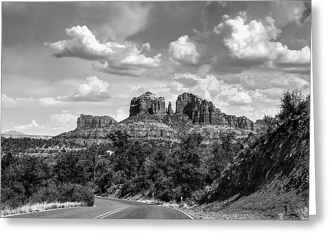 Sedona Arizona Black And White Landscape - Cathedral Rock  Greeting Card by Gregory Ballos