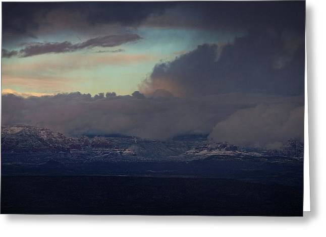 Greeting Card featuring the photograph Sedona At Sunset With Red Rock Snow by Ron Chilston