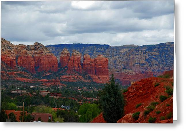 Sedona Mountains Greeting Card by Susanne Van Hulst