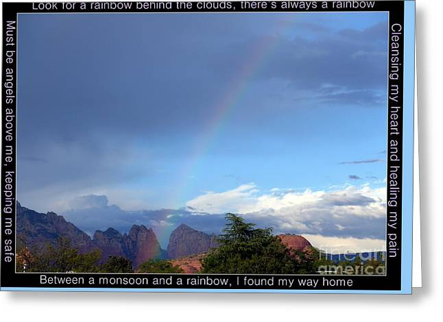 Sedona Rainbow Monsoon Greeting Card by Marlene Rose Besso
