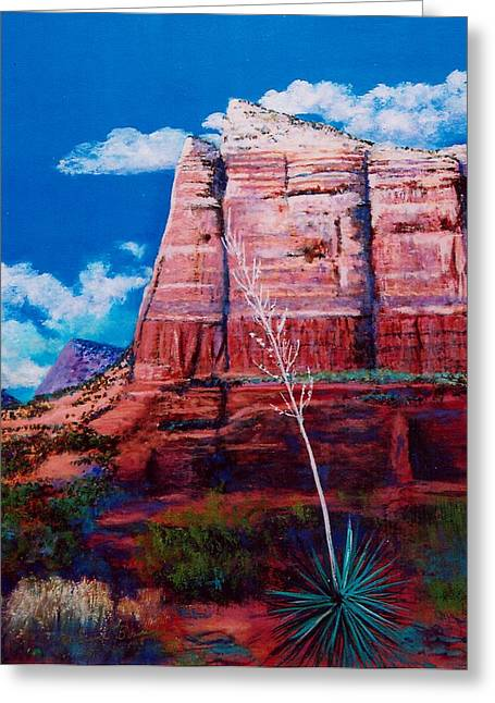 Greeting Card featuring the painting Sedona Red Rock by M Diane Bonaparte