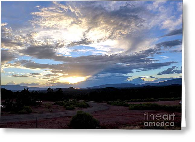 Sedona Sunset Sky Greeting Card by Marlene Rose Besso