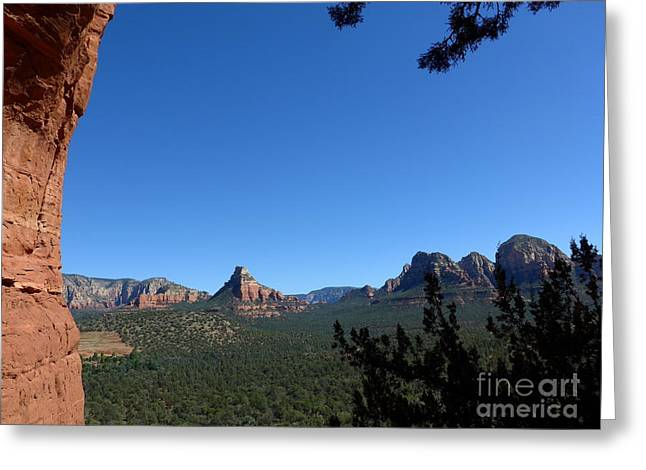 Sedona View From Cave Greeting Card by Marlene Rose Besso