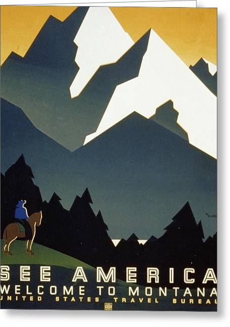 See America Welcome To Montana Greeting Card by M Weitzman