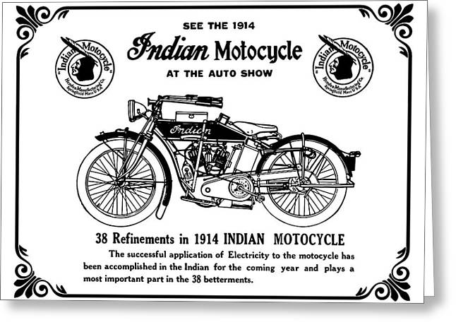 Greeting Card featuring the mixed media See New 1914 Indian Motocycle At The Auto Show by Daniel Hagerman