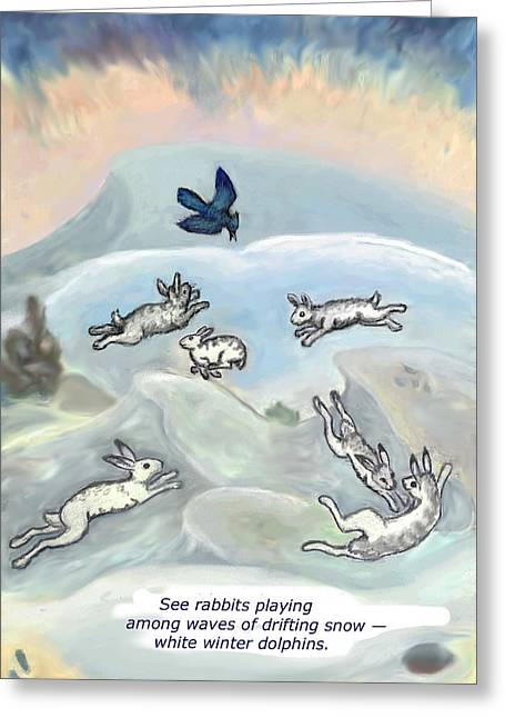 Stellar Drawings Greeting Cards - See Rabbits Playing haiku and illustration Greeting Card by Dawn Senior-Trask