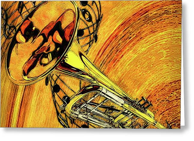 See The Sound Series Trumpet Greeting Card by Jack Zulli
