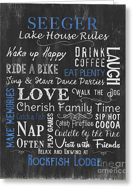 Seeger Lake House Rules Greeting Card